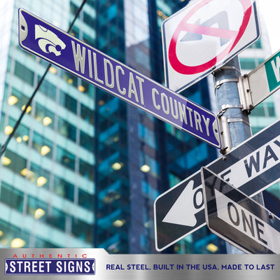 Kansas State Wildcats Steel Street Sign with Logo-WILDCAT COUNTRY