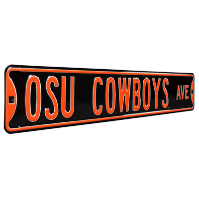 Oklahoma State Cowboys Steel Street Sign-OSU COWBOYS AVE on Black