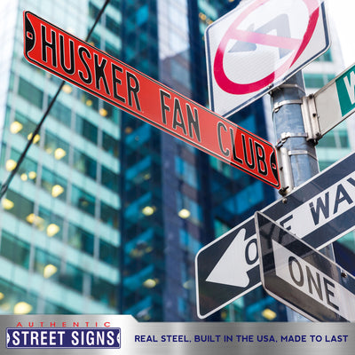 Nebraska Cornhuskers Steel Street Sign-HUSKER FAN CLUB