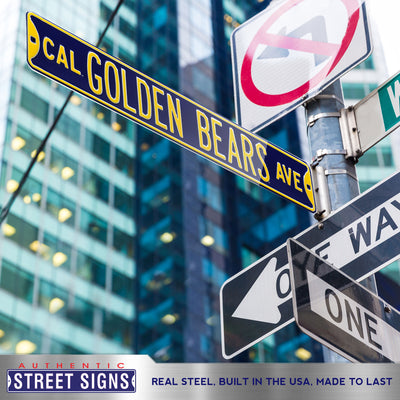 Cal Bears Steel Street Sign-CAL GOLDEN BEARS AVE  on Navy