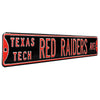 Texas Tech Red Raiders Steel Street Sign-TEXAS TECH RED RAIDERS AVE on Black