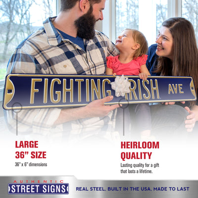 Notre Dame Steel Street Sign-FIGHTING IRISH AVE on Navy