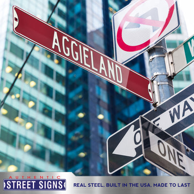 Texas A&M Aggies Steel Street Sign-AGGIELAND Texas A&M