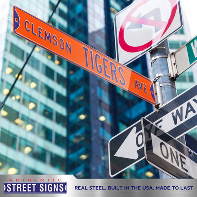 Clemson Tigers Steel Street Sign-CLEMSON TIGERS AVE