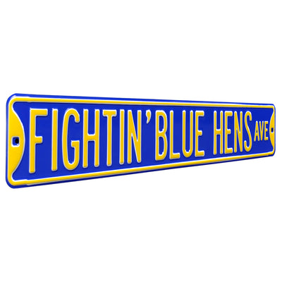 Delaware Blue Hens Steel Street Sign-FIGHTIN' BLUE HENS AVE