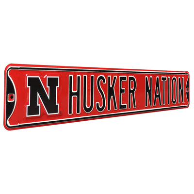 Nebraska Cornhuskers Steel Street Sign with Logo-HUSKER NATION