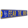 Delaware Blue Hens Steel Street Sign with Logo-FEAR THE BIRD