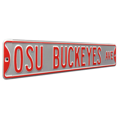 Ohio State Buckeyes Steel Street Sign-OSU BUCKEYES AVE on Silver