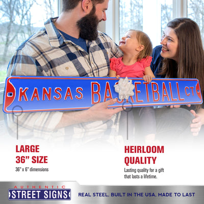 Kansas Jayhawks Steel Street Sign-KANSAS BASKETBALL CT