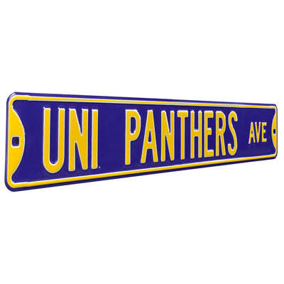 Northern Iowa Steel Street Sign-UNI PANTHERS AVE