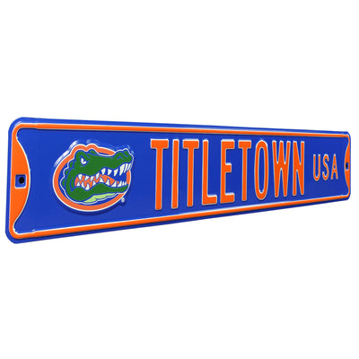 Florida Gators Steel Street Sign with Vintage Logo-TITLETOWN USA