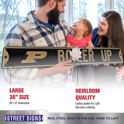 Purdue Boilermakers Steel Street Sign with Logo-BOILER UP