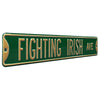 Notre Dame Steel Street Sign-FIGHTING IRISH AVE on Green