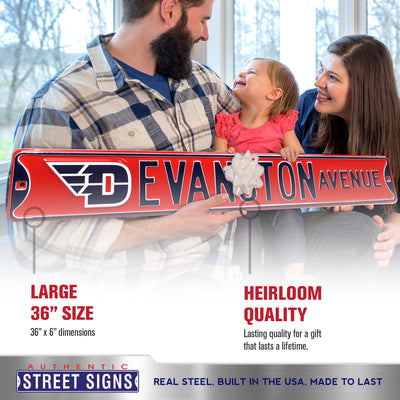 Dayton Flyers Steel Street Sign with Logo-EVANSTON AVE