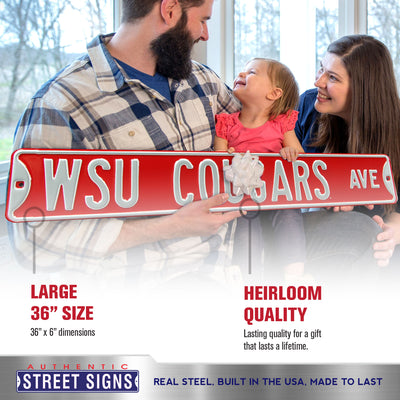 Washington State Cougars Steel Street Sign-WSU COUGARS AVE