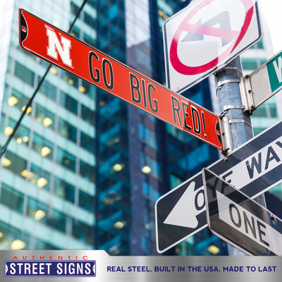 Nebraska Cornhuskers Steel Street Sign with Logo-GO BIG RED!