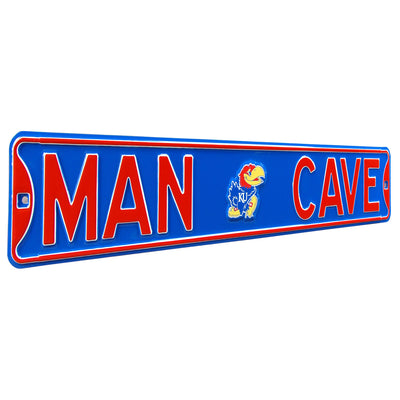 Kansas Jayhawks Steel Street Sign with Logo-MAN CAVE