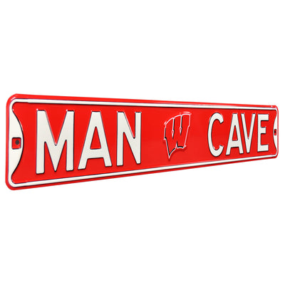 Wisconsin Badgers Steel Street Sign with Logo-MAN CAVE