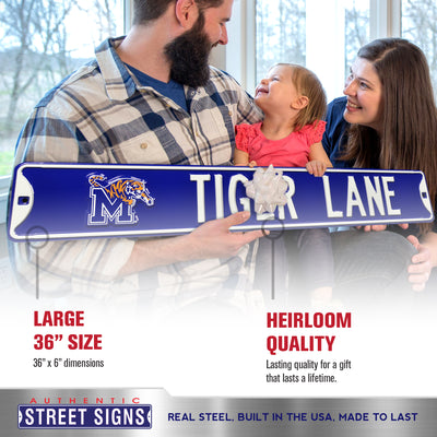 Memphis Tigers Steel Street Sign with Logo-TIGER LANE