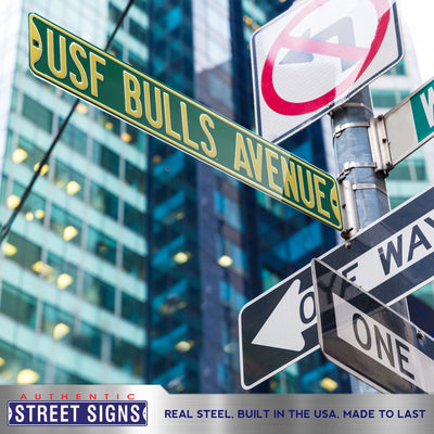 South Florida Bulls Steel Street Sign-USF BULLS AVENUE