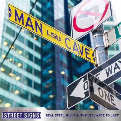 LSU Tigers Steel Street Sign with Logo-MAN CAVE