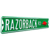 Arkansas Razorbacks Steel Street Sign with Logo-RAZORBACK ROAD on Green