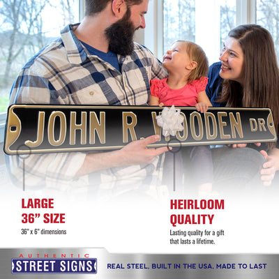 Purdue Boilermakers Steel Street Sign-JOHN R WOODEN DR