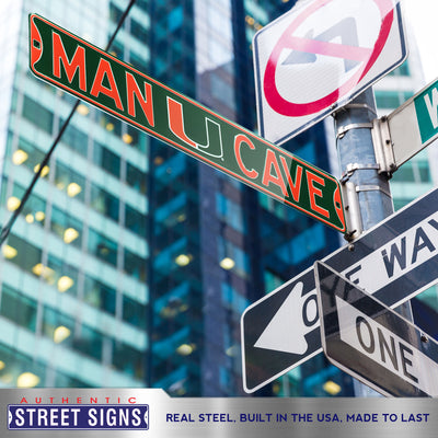 Miami Hurricanes Steel Street Sign with Logo-MAN CAVE