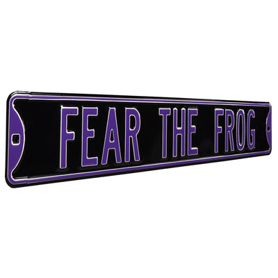 TCU Horned Frogs Steel Street Sign-FEAR THE FROG