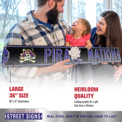 East Carolina Pirates Steel Street Sign with Logo-PIRATE NATION
