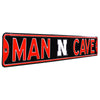 Nebraska Cornhuskers Steel Street Sign with Logo-MAN CAVE on Black