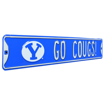 BYU Cougars Steel Street Sign with Logo-GO COUGS!