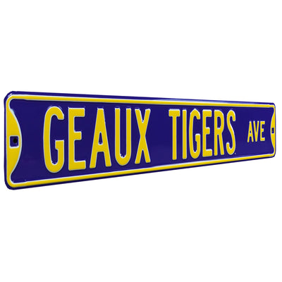 LSU Tigers Steel Street Sign-GEAUX TIGERS AVE