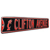 Cincinnati Bearcats Steel Street Sign with Logo-CLIFTON AVE