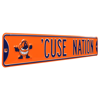 Syracuse Orange Steel Street Sign with Logo-CUSE NATION