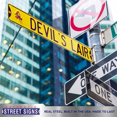 Arizona State Sun Devils Steel Street Sign with Logo-DEVIL'S LAIR