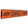 Oklahoma State Cowboys Steel Street Sign with Logo-ORANGE POWER