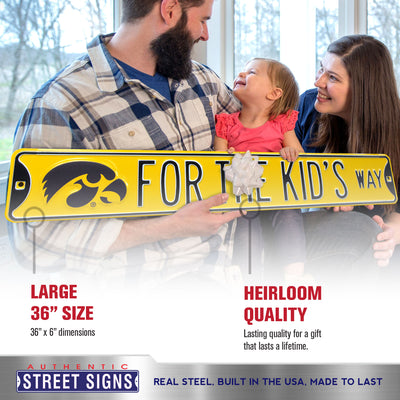 Iowa Hawkeyes Steel Street Sign-FOR THE KIDS WAY