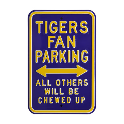 LSU Tigers Steel Parking Sign-Chewed Up