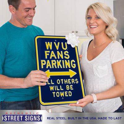West Virginia Mountaineers Steel Parking Sign-All Others Towed