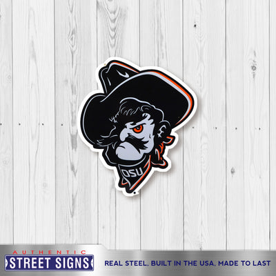 Oklahoma State Cowboys Laser Cut Steel Logo Spirit Size-Shadow Pete