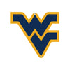 NCAA West Virginia Metal Logo-WV Blue w/Yellow border