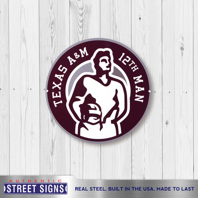 Texas A&M Aggies Laser Cut Steel Logo Spirit Size-12th Man