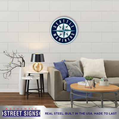 Seattle Mariners Laser Cut Steel Logo Statement Size-Primary Logo