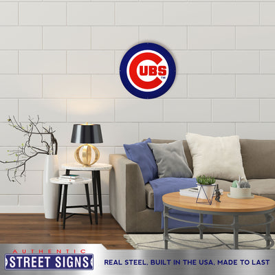 Chicago Cubs Laser Cut Steel Logo Statement Size-Primary Logo