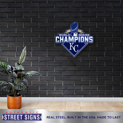 Kansas City Royals Laser Cut Steel Logo Statement Size-WS 2015 Champions