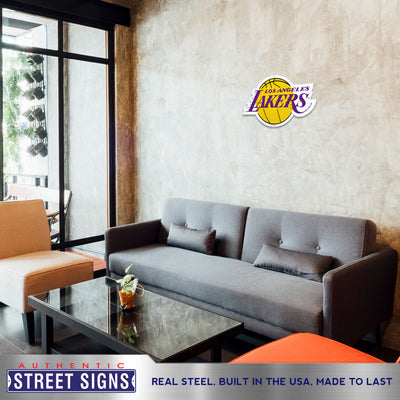 Los Angeles Lakers STEEL 24 Inch NBA Logo Sign