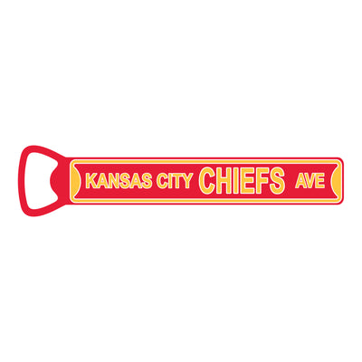 "Kansas City Chiefs  7"" STEEL Bottle Opener Super Magnet"