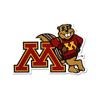 NCAA Minnesota Golden Gophers Metal Super Magnet-Goldy Leaning on M