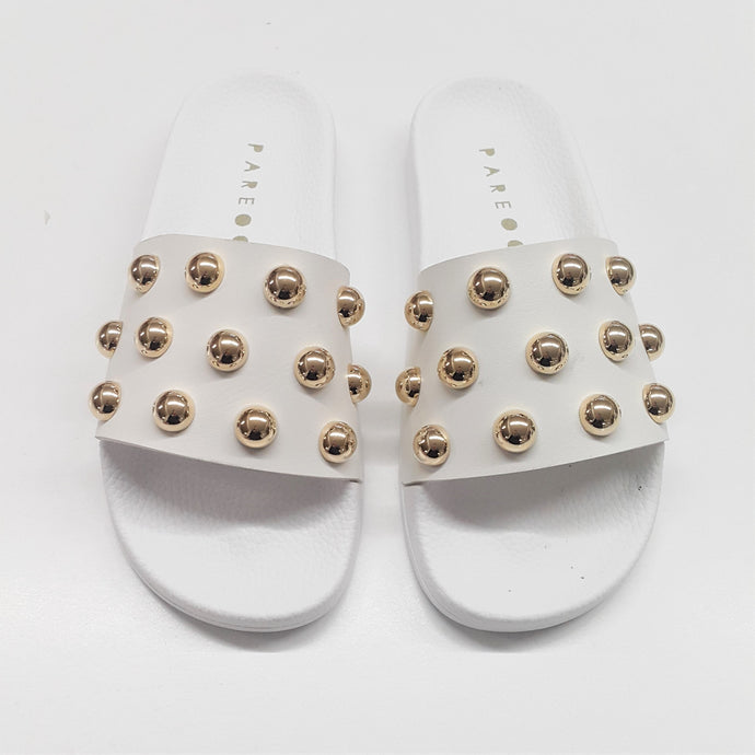 Bubble button White/Gold Slides - PAREOO